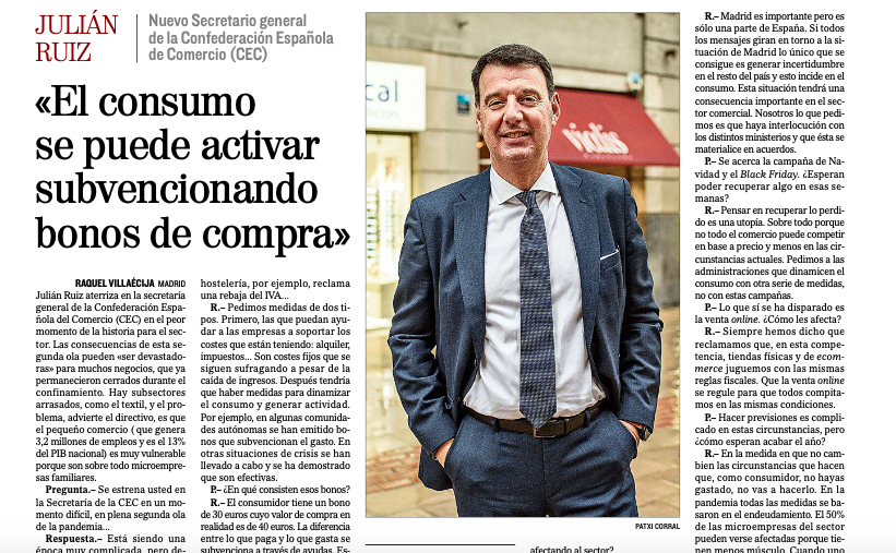 """""""El consumo se puede activar subvencionando bonos de compra"""". Entrevista a Julián Ruiz, en El Mundo"""