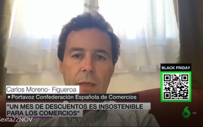 «Un mes de descuentos en insostenible para la viabilidad de los comercios» Carlos Moreno – Figueroa en La Sexta Noticias