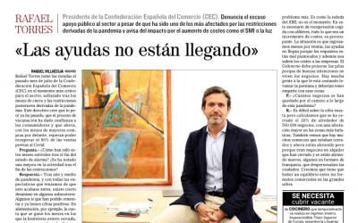 Entrevista a Rafael Torres en El Mundo: «No están llegando las ayudas»